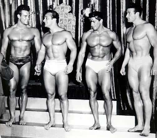 Steve Reeves, George Eiferman, Armand Tanny, Clarence Ross