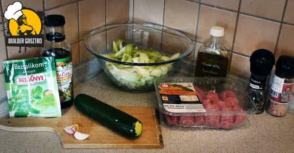 Cukkinis tészta pulykával recept hozzávalók
