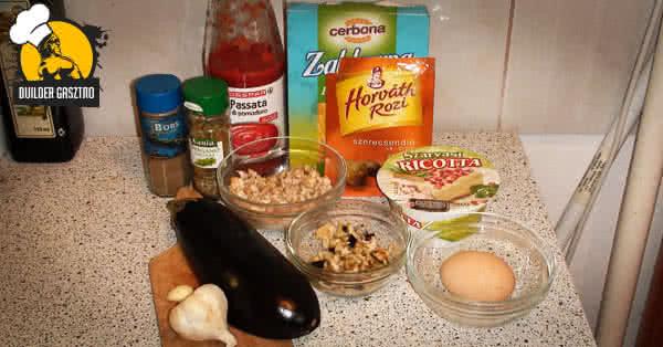 Ricottás-csirkés padlizsán recept hozzávalók