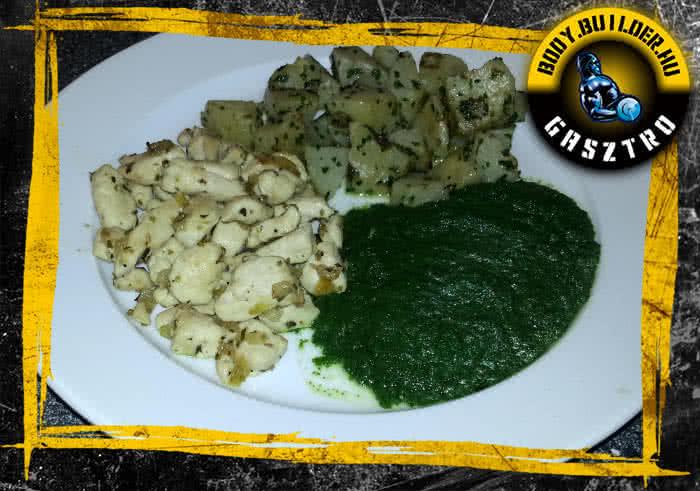 Spenótos csirke hamis főtt krumplival