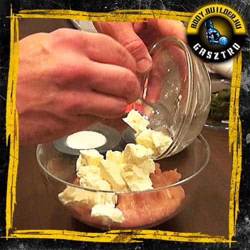 Sajtos spenótos csirkemuffin elkészítés - II. lépés