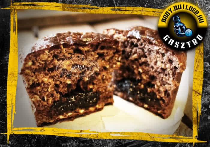Lekvárral töltött proteines muffin