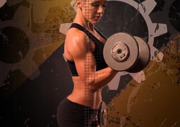 női edzés, bicepsz állva
