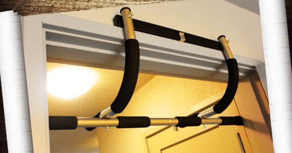 A pull-up bar on a door case. Just in case.