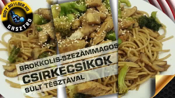 Brokkolis szezámmagos csirkecsíkok sült tésztával